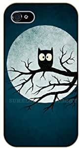 Diy For SamSung Note 4 Case Cover Insomnia owl, moon - black plastic Animals and Nature, owl, owls