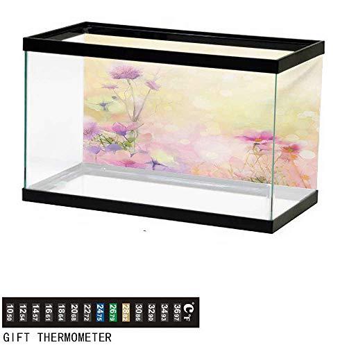 wwwhsl Aquarium Background,Flower,Vintage Soft Colored Feminine Magnolia Blooms Whorls Motif Artwork Print,Pink Pale Yellow Fish Tank Backdrop 30
