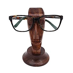 swara Handmade Nose Shaped Rosewood Eyeglass Spectacle Holder Eyewear Stand/Wooden Spectacle holder with face Design