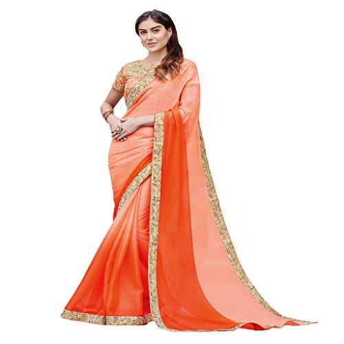 RajRajeshwari Women's Chiffon Crepe Saree In Orange And Peach Shaded Color