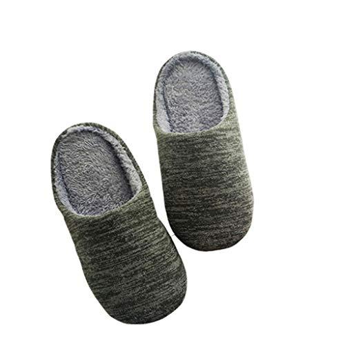 NYDZ Zapatillas de casa para Hombre Memoria Interior Espuma de Cachemira Mezcla de algodón Tejido Otoño Invierno...