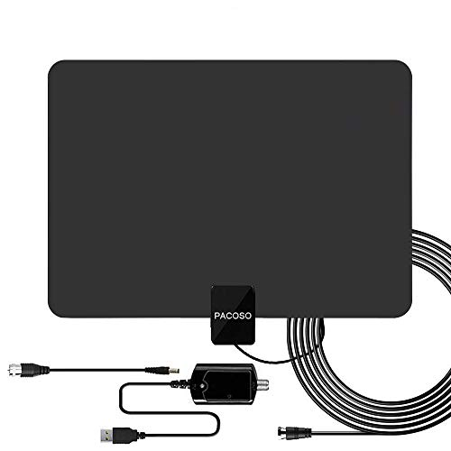 HDTV Antenna 50-100Mile Range.Support 4K HD VHF UHF Freeview Television Local Channels w/Detachable Signal Amplifier and 13.2ft Longer Coax Cable