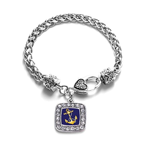 (Navy Coast Guard Anchor Sailor & Military Charm Classic Silver Plated Square Crystal Bracelet)
