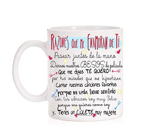 FUNNY CUP Taza Razones Que me Enamoran de Ti Regalo Divertido con Mucho Amor para Parejas San valentin Dia de los Enamorados