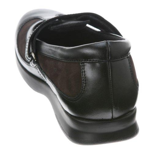 Dessiné Chaussures Femme Desiree T-strap Veau Plat Noir / Nubuck Marron