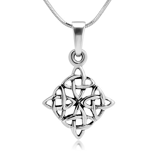 925 Sterling Silver Celtic Knot Symbol Square Pendant Necklace, 18 inches