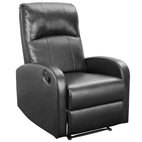 Devoko Adjustable Single Recliner Chair Manual Modern Living Room Sofa Padded Cushion Home Theater Seating (Black)