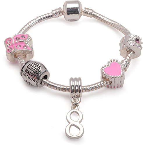 Image of the Liberty Charms Childrens Pink Happy 8th Birthday Silver Plated Charm Bead Bracelet. With Gift Box (Other Sizes Available) (16.00)