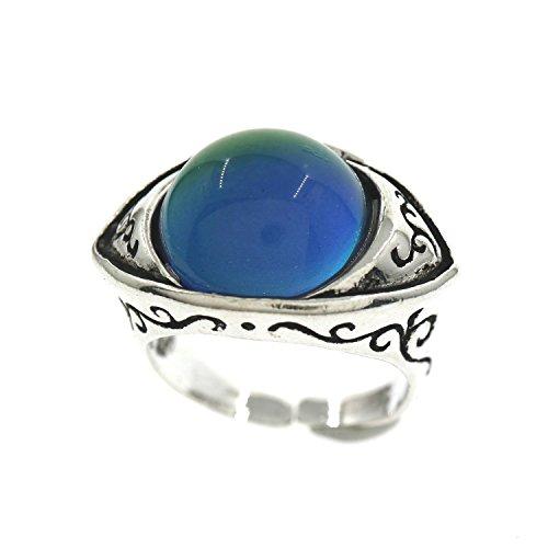 Vintage Style Round Cabochon Antiqued Silver Evil Eye Color Change Mood Ring Adjustable Emotion Ring