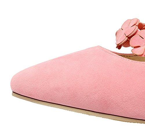 Allhqfashion Kvinners Matt Kitten-hæler Lukket Tå Fast Pull-on Pumpe-sko Rosa