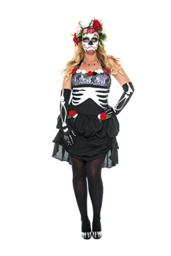 Halloween La Muerte Costume (Music Legs Women's Plus-Size Mrs.Muerte, Black/White, 3X/4X)