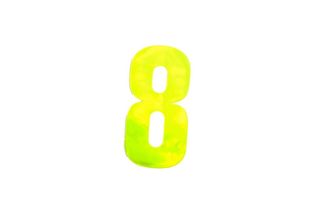 Bulk Hardware BH04969 High Visibility Self Adhesive Plastic Reflective Mailbox, House Wheelie Bin Number 8, 150mm (6 inch) - Yellow