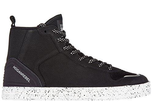 Hogan Rebel chaussures baskets sneakers hautes homme en cuir r141 elastico noir