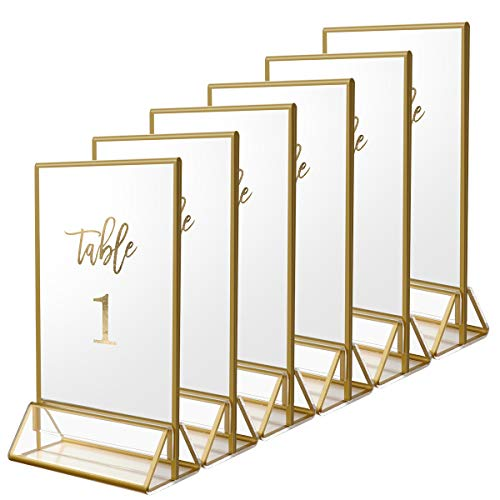 NIUBEE 6Pack 5 x 7 Clear Acrylic Wedding Table Number Holder Stands with Gold Borders, Double Sided Gold Picture Frames Sign Holder for Restaurant Table Menu Recipe Cards Photo ()