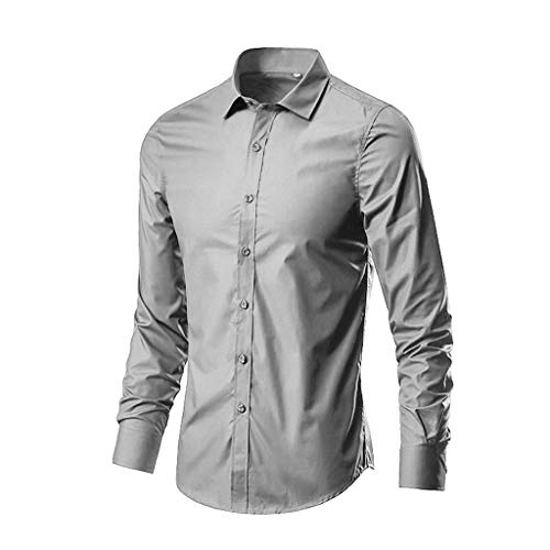 (YKARITIANNA Men's Fashion Business Leisure Lapel Pure Color Long-Sleeved Shirt Top Blouse Gray)
