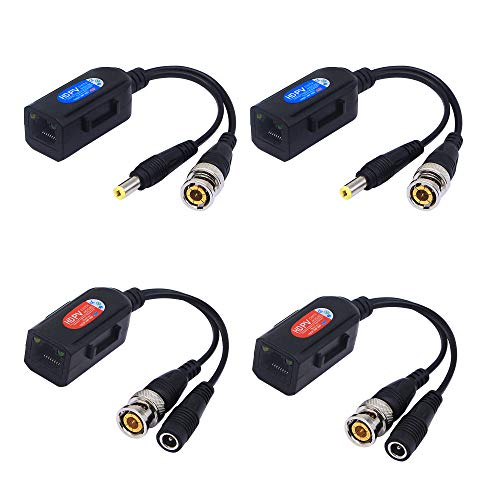 Sinloon 2 Pair Passive Video HD-TVI/CVI/AHD Balun 1080P - 5MP BNC to RJ45 Long Distance Network Transceiver for Full HD Security Surveillance Camera (BNC to RJ45 Adapter ()