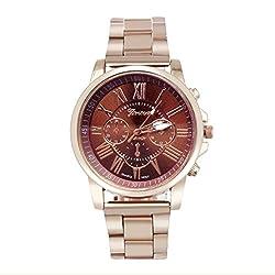Han Shi Wristwatch, Unisex Roman Number Stainless Steel Quartz Sports Dial Watch Clock (A, Brown)