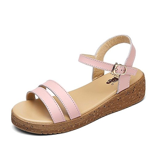 Xing Lin Ladies Sandals Slope With Sandals Women Summer High Heel Leather Casual Sandals Women Cool Slippers Students 871 pink r7rijFA