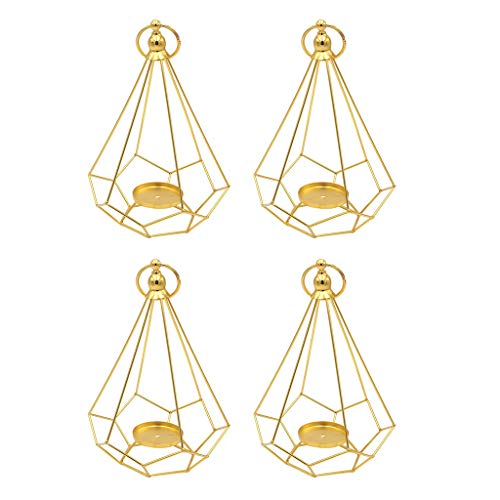 - Fityle 4pcs Geometric Diamond Shaped Alloy Framed Tea Light Candle Holder Candlestick Cafe Bar Hanging Decor Photo Props Gold