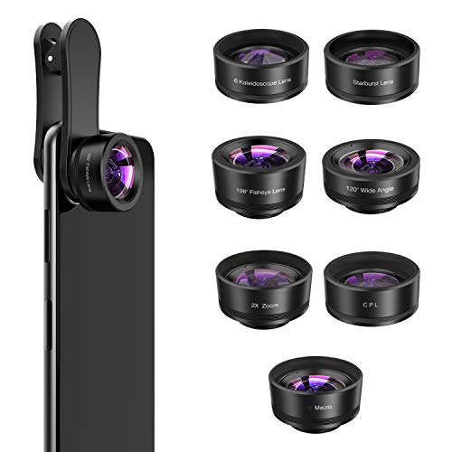 Phone Camera Lens,7 in 1 Cell Phone Lens Kit -120°Wide Angle Lens,Macro Lens,198°Fisheye Lens,Starburst Lens,2X telephoto,CPL,6 Kaleidoscope,Clip-On Compatible iPhone Samsung and Most Smartphone