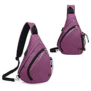 Nylon Crossbody Bag Sling Backpack - 2017 New Design Packable Sling Chest CrossBody Bag Cover Pack Rucksack for Bicycle Sport Hiking Travel Camping Bookbag Men Women (Noble Purple)