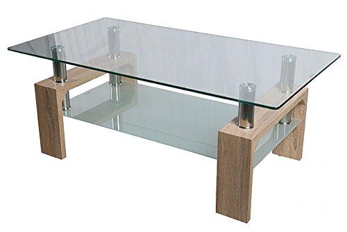 HomeSouth - Mesa de Centro Fija, Cristal Templado Transparente, Patas Color Cambria
