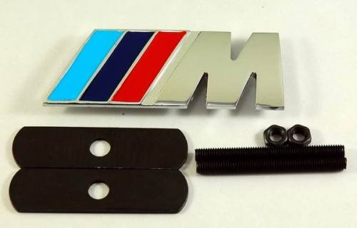 3D M power Grill Grille Emblem Red Blue and Silver Universal Fit All Vehicles