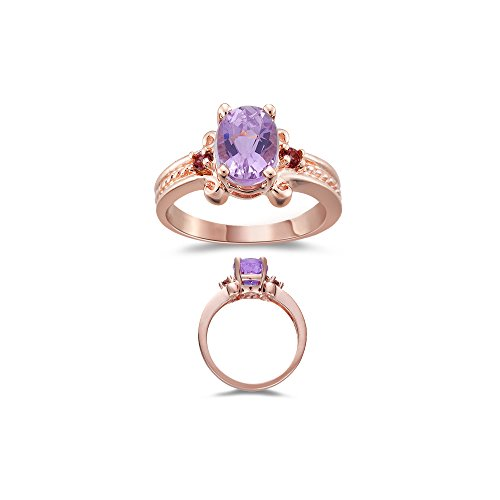 1.95 Ct AAA Kunzite & Pink Tourmaline Three Stone Ring in 14K Pink Gold - Valentine's Day (Kunzite Ring)