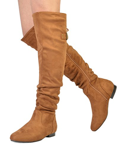 DREAM PAIRS Damenmode Casual Overknee Pull On Slouchy Boots Bräunen