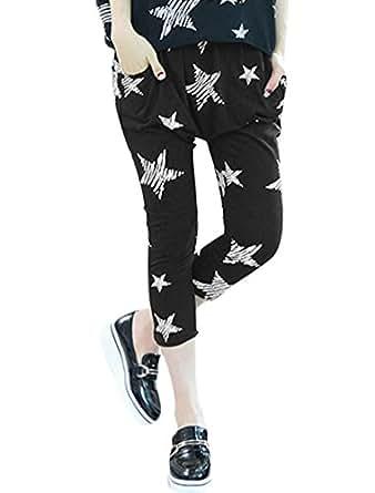 Ladies Drawstring Waist Stars Prints Casual Harem Pants Black XS
