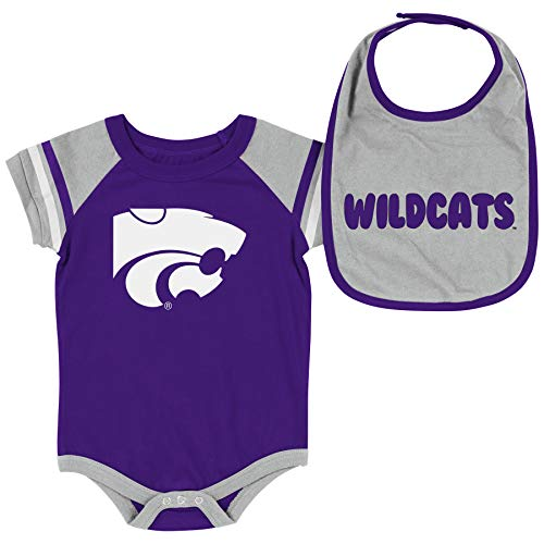- Colosseum NCAA Baby Short Sleeve Bodysuit and Bib 2-Pack-Newborn and Infant Sizes-Kansas State Wildcats-0-3 Months