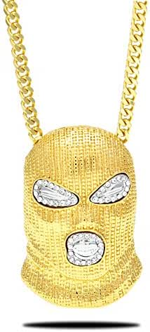 Censtusllery Hip Hop Stainless Steel Crystal Mask Pendant Chain Necklace,27inches