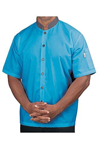 KNG Short Sleeve Lightweight Poplin Cook Shirt, Teal with Slate Accent, - Poplin Shirt Cook