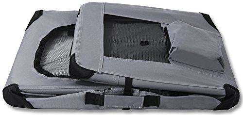 "Paws & Pals Foldable Soft Sided Pet Crate Training Kennel Carrier for Cats and Dogs – 24"" x 17"" x 16"" Inches Gray by Paws & Pals (Image #4)'"