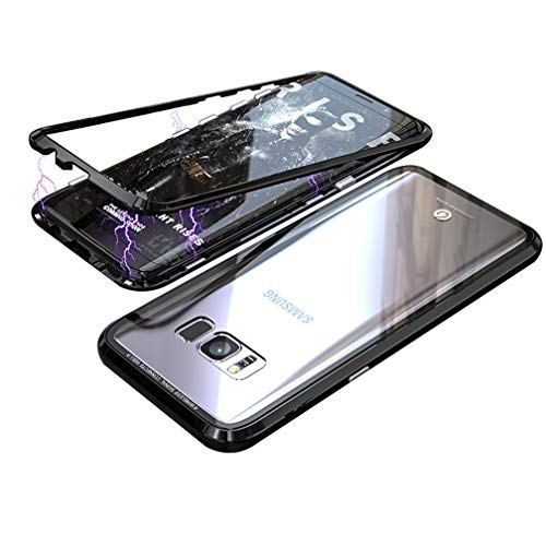 UMTITI Compatible Samsung Galaxy S8 Case, Magnetic Clear Tempered Glass Cover with a Screen Protector (Black)