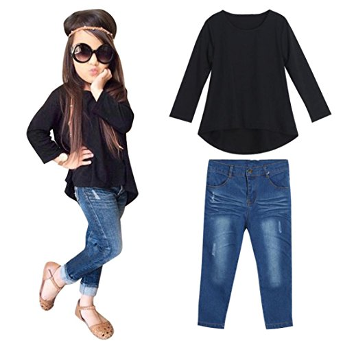 HOT!YANG-YI Fashion Toddler Baby Kids Girls Outfit Set Long Sleeve T-shirt Tops+Jeans Pants (Black, 120cm/5-6T)