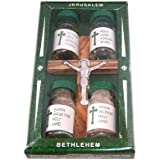 Olive Wood Cross Set with 4 Bottles - Anotinting Oil, Jordan river Water, Holy Earth and Incense