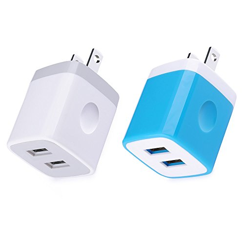 (Wall Charger, Charger Brick, iPhone Cube, Kakaly 2-Pack 2.1Amp Dual Port Quick Charger Plug Cube for iPhone X/8/7/6S/6S Plus/6 Plus/6/5S/5,Samsung Galaxy S7/S6/S5 Edge,LG,HTC,Huawei,Moto,Kindle,More)