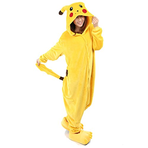 [Yimidear Unisex Adult Pajamas Cosplay Costume Animal Onesie Sleepwear Nightwear (M, Pikachu)] (Pikachu Costumes Women)