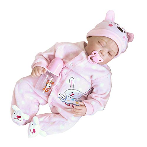 EA-STONE Silicone Baby Full Body Toy ,22inch Silicon Lifelike Sleeping Closed Eyes Dolls Rabbit Pattern Pink Onesies Hat Early Childhood Kids (Rabbit Doll Pattern)