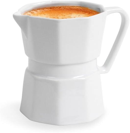 Balvi Mug Moka Color Blanco Taza de café en Forma de cafetera Italiana Original Taza para los Amantes del café Accesorios Cocina Cerámica 10,5x12,8x8,5 cm: Amazon.es: Hogar