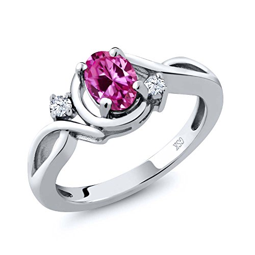 0.98 Ct Oval Pink Created Sapphire White Topaz 14K White Gold Ring
