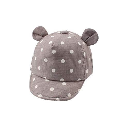 XIAOHAWANG Dot Partten Baby Caps Summer Girl Boys Sun Hat with Ear Spring Summer Newborn Photography Props (Light Gray)