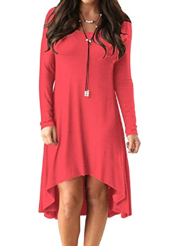 Shirt Colored Womens T Comfy Red Sleeve Unbalanced Hem Solid Long Dress SwnqU