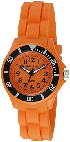 Ravel Analogue Orange Dial Rotating Bezel Silicone Strap Childrens Watch R1802.8