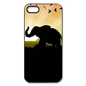 Elephant Sunset Africa Hard Cover Case For Sam Sung Galaxy S5 Cover -BLACK CASE