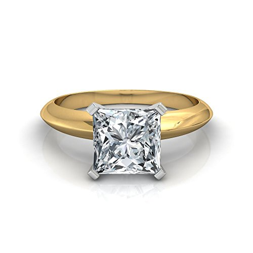 18K Yellow Gold Princess Cut V Prong Solitaire Diamond Engagement Ring (1 Carat I-J Color VS1-VS2 Clarity)