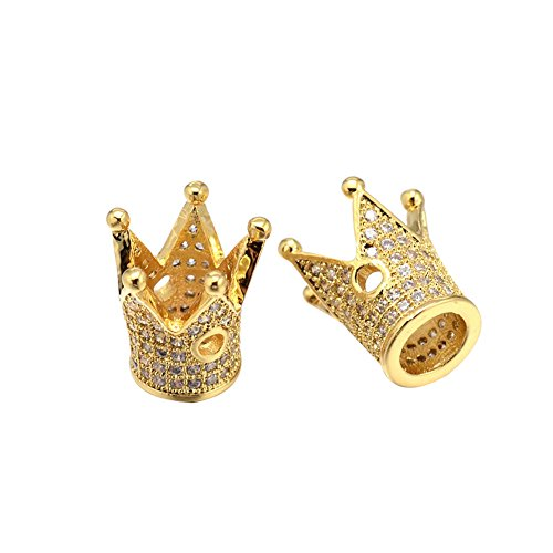 Nbeads Environmental Brass Micro Pave Cubic Zirconia Crown Beads, Lead Free & Cadmium Free & Nickel Free, Golden, 12.5x12mm, Hole: 1.5mm; Inner Diameter: (Pave Crown)