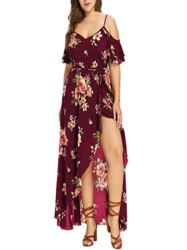 LISTHA Boho Flower Print Dress Plus Size Maxi Dresses for Women Summer Cold Shoulder