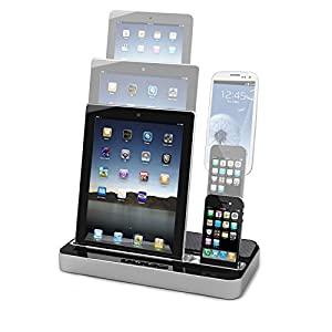 dual docking station charging and audio stand multipurpose. Black Bedroom Furniture Sets. Home Design Ideas